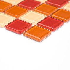 Mosaico CRYSTAL MIX ROSSO ARANCIO Vetro lucido