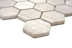 mosaico esagono grigio in marmo