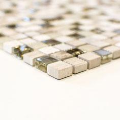 Mosaico Marmo Vetro 15mm Graffiti Mix Grigio Oro