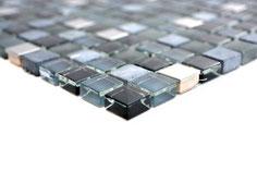 Mosaico Marmo Vetro Metallo 15mm Edel Schwarz