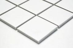 mosaico in ceramica colore bianco forma quadrata 48mm opaco