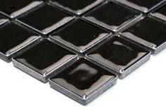 mosaico in ceramica forma quadrata nero lucido