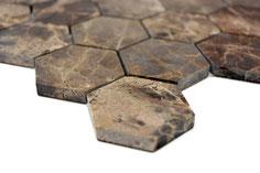 mosaico esagono in marmo Emperador lucido