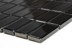 mosaico in ceramica a mattoncino colore nero lucido