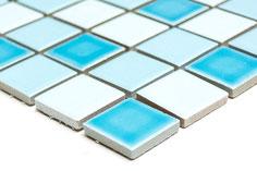 mosaico in ceramica mix blu lucido