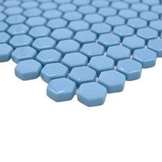 mosaico esagonale vetro tessera 15mm bluette