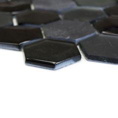 Mosaico effetto 3D Hexagon marmo vetro Nero