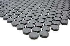 mosaico rotondo in ceramica nero opaco antiscivolo