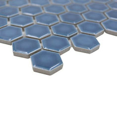 mosaico esagoni blu