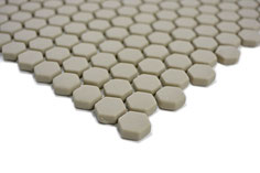 mosaico esagonale vetro tessera 15mm beige