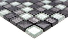 mosaico vetro tessera 23mm foglia argento mix