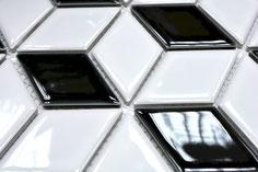 mosaico bianco nero decorativo in ceramica a forma di rombo