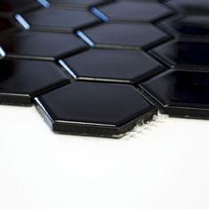 mosaico esagonale nero mat