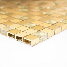 Mosaico 15mm in Alluminio Vetro Gold