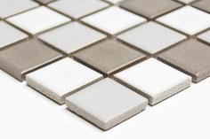 mosaico in ceramica mix bianco grigio lucido
