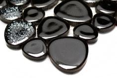 mosaico ceramica tondo nero lucido