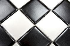 mosaico in ceramica colore bianco nero a scacchiera opaco