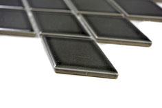 mosaico nero decorativo in ceramica a forma di rombo