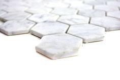 mosaico esagono bianco carrara