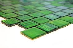 mosaico vetro tessera 30mm foglia oro colore verde