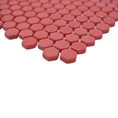 mosaico esagonale vetro tessera 15mm rosso