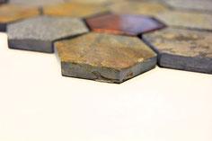 Mosaico Hexagon marmo vetro Ruggine
