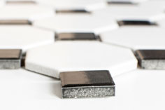 mosaico ceramica ottagono bianco nero