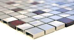 Mosaico 15mm in Alluminio Mix Rosso