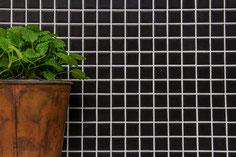 mosaico 23 mm in ceramica colore nero opaco