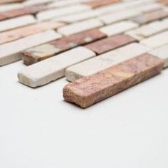 mosaico muretto marmo Rosso Verona Cream