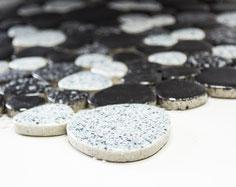 mosaico ceramica a gocce mix bianco nero lucido