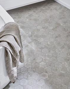mosaico ceramica esagonale grigio cemento 10x10 cm