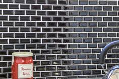 mosaico ceramica mattoncino nero