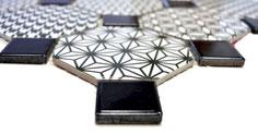 mosaico ceramica ottagono bianco nero effetto patchwork