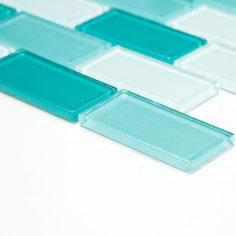 Mosaico Brick CRYSTAL ACQUAMARINA in vetro lucido 25x50mm