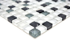 Mosaico Marmo Vetro 15mm Natural Trix White Grey Black