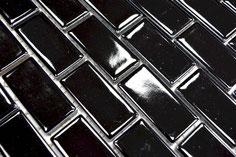 mosaico in ceramica colore nero forma rettangolare lucido
