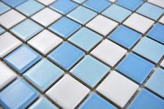 mosaico in ceramica mix bianco blu lucido