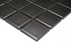 mosaico in ceramica colore nero forma quadrata 48mm opaco
