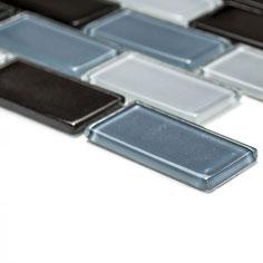 Mosaico Brick CRYSTAL NERO in vetro lucido 25x50mm