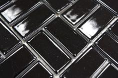 mosaico in ceramica colore nero forma rettangolo lucida