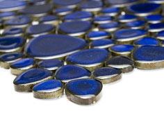 mosaico ceramica tondo blu lucido