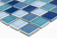 mosaico in ceramica mix blu scuro lucido