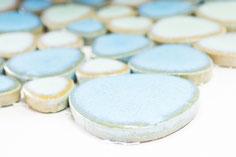 mosaico ceramica a gocce mix azzurro lucido