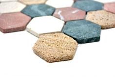 mosaico esagono in marmo Bianco, Verde, Travertino, Rosso