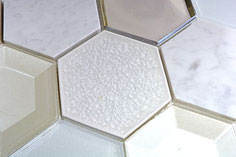 Mosaico effetto 3D Hexagon marmo vetro Bianco