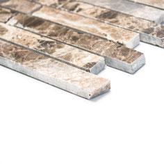 mosaico muretto marmo Impala Brown lucido