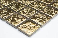 mosaico in ceramica effetto oro in gocce