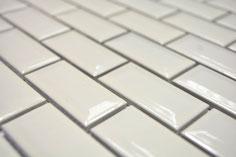 mosaico rettangolare mattoncini in ceramica diamantato beige
