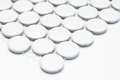 mosaico rotondo in ceramica bianco lucido